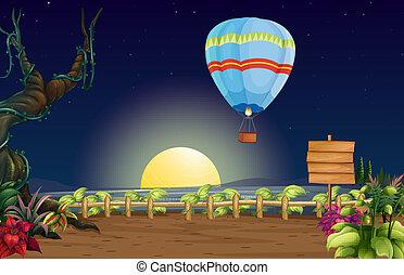 entiers, balloon, clair, lune, air chaud