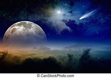 entiers, comète, lune