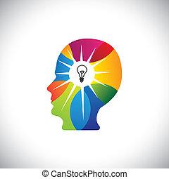 entiers, doué, &, esprit, idées, génie, personne, solutions