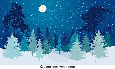 entiers, hiver, chute neige, lune, vecteur, forêt, nuit, silhouette.