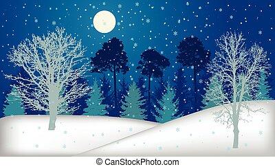 entiers, hiver, (trees), lune, illustration, silhouette., vecteur, chute neige, nuit, forêt