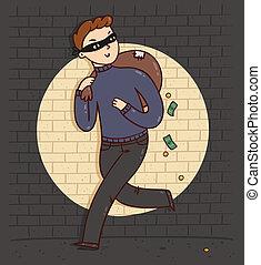 entiers, illustration, sac, vecteur, argent, voleur