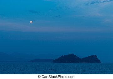 entiers, island., sur, mer lune, briller