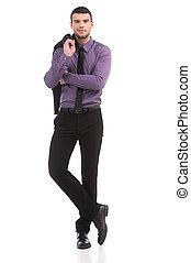 entiers, isolé, formalwear, jeune regarder, confiant, quoique, appareil photo, businessman., longueur, blanc, homme