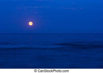 entiers, mer, sur, lune