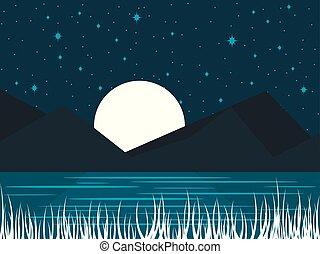entiers, moon., minuit, lac, illustration, moonlight., vecteur, nuit, paysage rivière