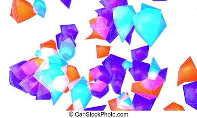 entiers, render, résumé, poly, particules, arrière-plan., bas, boucle, hd, 3d