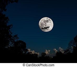 entiers, silhouette, avion, lune