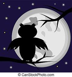 entiers, silhouette, branche, séance, halloween, moon., arbre, hibou, noir, contre, fond, oiseau, night.