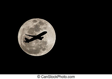 entiers, silhouette, sur, lune, thaïlande, avion, super