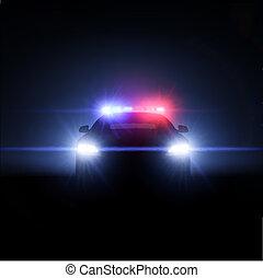 entiers, surveiller voiture, lights., illustration, vecteur, étalage