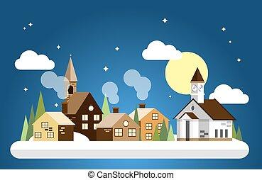 entiers, urbain, lune, plat, conception, temps, paysage, sky., nuit