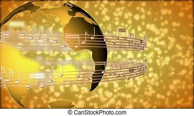 entourer, notes, monde musical