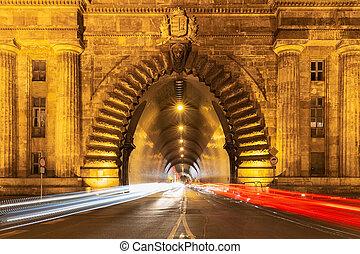 entrée, -, budapest, hongrie, tunnel, photo, château, soir, buda, exposition, long