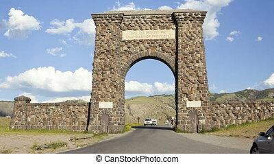 entrée, défaillance, parc, yellowstone, temps, national