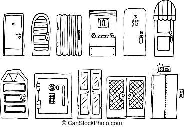 entrée, ensemble, portes