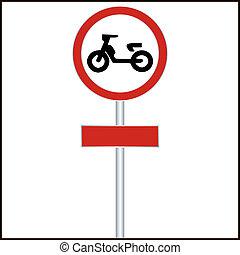 entrée, interdit, -, signe, vecteur, trafic, vélomoteur