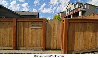 entrée, jardin, barrière, film, signe bienvenu, bois, panoramique, portail, 1080p, hd