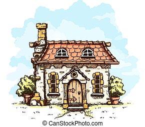 entrée, vieux, maison, tuiles, toit, fée-conte