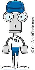 entraîneur, dessin animé, surpris, robot