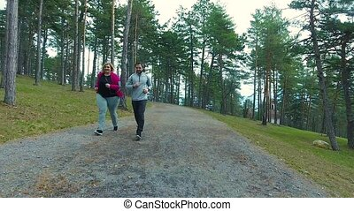 entraîneur, excès poids, parc, courant, séduisant, fitness, woman.