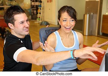 entraîneur, expliquer, formation, personnel, client, vélo, femme