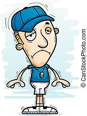 entraîneur, triste, dessin animé, homme