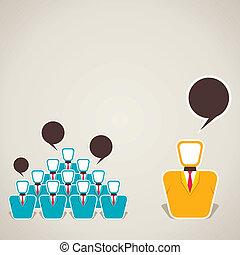 entre, équipe, discussion, éditorial