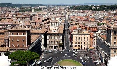entre, au-dessus, del, cityscape, rome, spectacles, via, piazza, corso, maisons, venezia