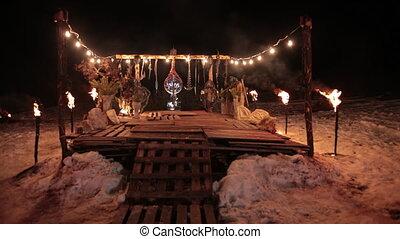 entre, combat, endroit, piédestal, adversaires, vikings, rituel, ancien, torches