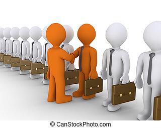 entre, hommes affaires, deux, coopération, choix