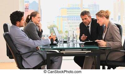 entre, personnes réunion, business