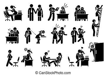 entre, relation, bureau, affaire, flirter, amour, workers., co