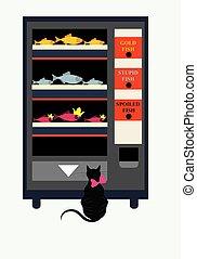 entre, vente, chat, choisir, essayer, 3, illustration, types, fish, machine