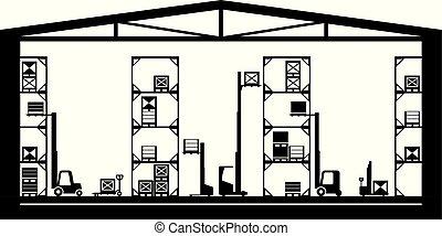 entrepôt, équipement, industriel