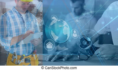entrepôt, deux, images, combiné, composition, situation, illustration