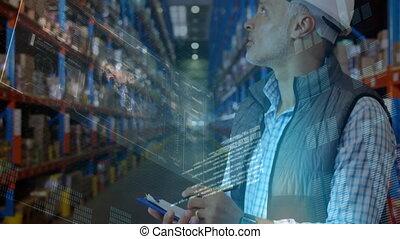 entrepôt, directeur, vérification, paquets