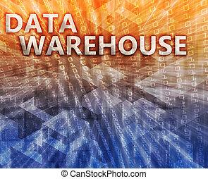 entrepôt, données, illustration