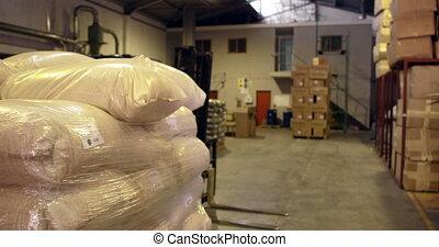 entrepôt, emballage, ouvrier, haut