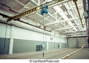 entrepôt, intérieur, industriel