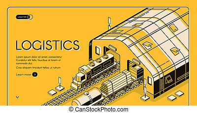entrepôt, logistique, expédition, ferroviaire, global, bois