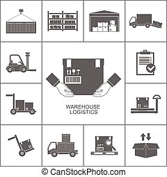 entrepôt, noir, icônes