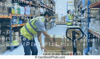 entrepôt, ouvrier, scellage, paquet