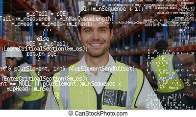 entrepôt, ouvrier, sourire