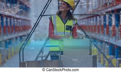 entrepôt, ouvrier, vérification, paquets
