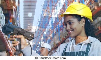 entrepôt, sacanning, ouvrier, paquets