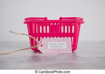 entreprises, women-owned, étiquette, égalité, panier, rose, achats, soutenir