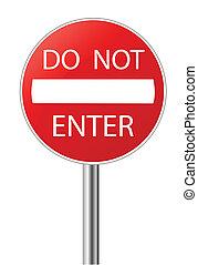 entrer, pas, signe, avertissement