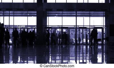 entrer, silhouette, gens