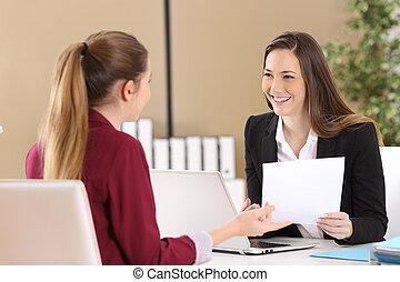 entrevue, assister, métier, patron